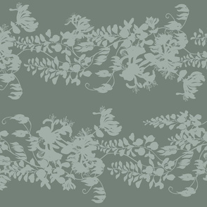 Wisteria &amp; Honeysuckle Silhouette - grey/green