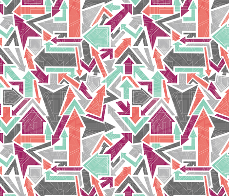 Arrows - Purple, coral, mint fabric by rosiesimons on Spoonflower - custom fabric