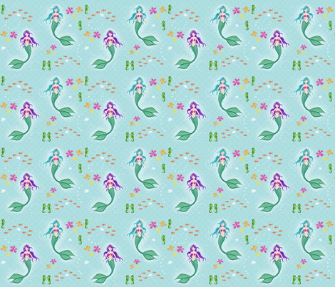 Sea Shanties: Mermaids fabric by bakercourt on Spoonflower - custom fabric