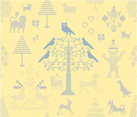 Cream and Blue  Cross Stitch fabric by chickoteria on Spoonflower - custom fabric