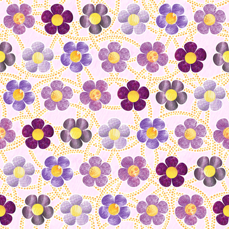 Purple Patterened Flowers fabric by siya on Spoonflower - custom fabric