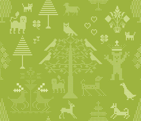 Grass Green Cross Stitch fabric by chickoteria on Spoonflower - custom fabric