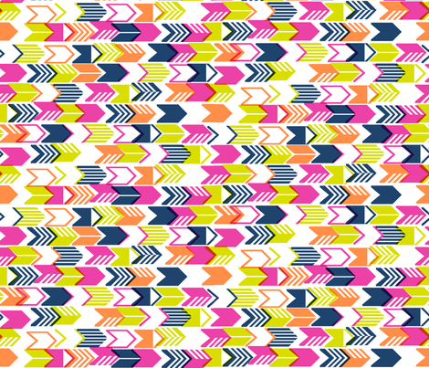 Tribal Arrows (Navy Midi) || geometric chevron arrow native arrowhead stripes fabric by pennycandy on Spoonflower - custom fabric