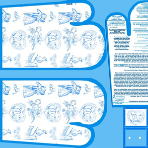 Aqua Blue Toile Oven Mitts Fabric Pattern Fat Quarter With Piece Pattern Cut And Sew by Kristie Hubler