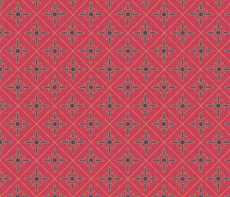 after_matisse_colonial_cross_red_blue_gold_peach fabric by glimmericks on Spoonflower - custom fabric