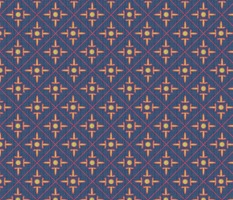 after_matisse_colonial_cross_blue_gold_red_white fabric by glimmericks on Spoonflower - custom fabric