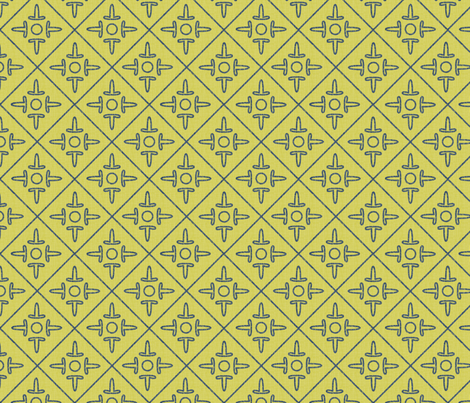 after_matisse_colonial_cross greengold_blue_white fabric by glimmericks on Spoonflower - custom fabric