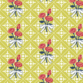 after matisse colonial cross and roses green gold