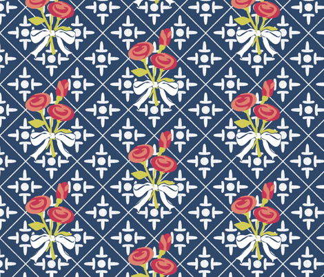 after_matisse_colonial_cross_and_roses3 fabric by glimmericks on Spoonflower - custom fabric