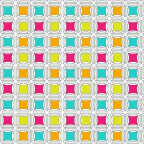 Abstract Flowers in Pink Green Blue and Orange