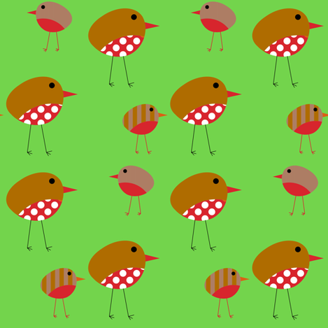 Birds - Christmas Robins fabric by giddystuff on Spoonflower - custom fabric