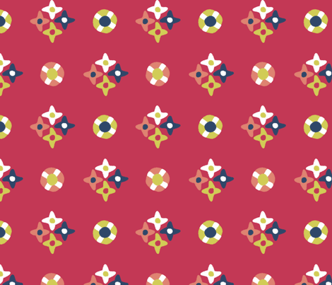 after_Matisse_floral dots red fabric by glimmericks on Spoonflower - custom fabric