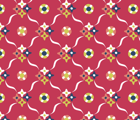 after_Matisse_floral_trellis red fabric by glimmericks on Spoonflower - custom fabric
