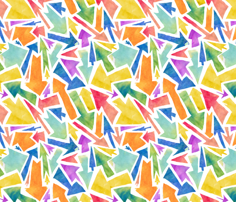 Rainbow colored arrows fabric by made_in_shina on Spoonflower - custom fabric