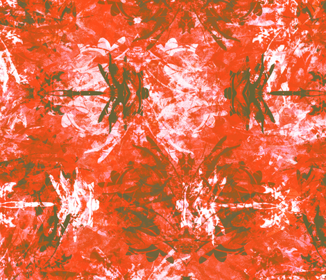 Dragonfly New Year Red fabric by wren_leyland on Spoonflower - custom fabric