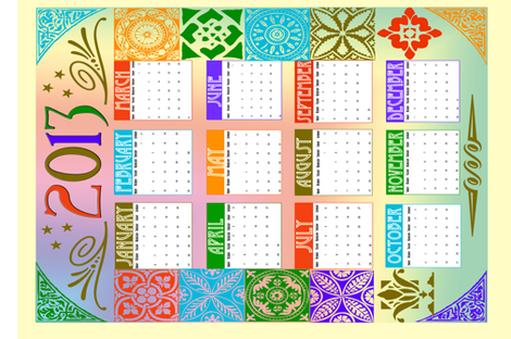 2013 Calendar fabric by tulsa_gal on Spoonflower - custom fabric