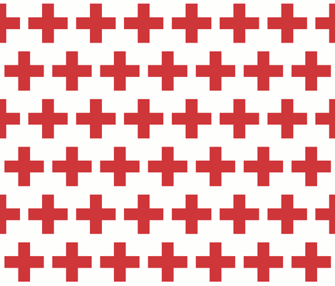 Red cross on white fabric by little_fish on Spoonflower - custom fabric