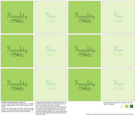 Naughty & Nice Cocktail Napkins (Green) fabric by studiofibonacci on Spoonflower - custom fabric