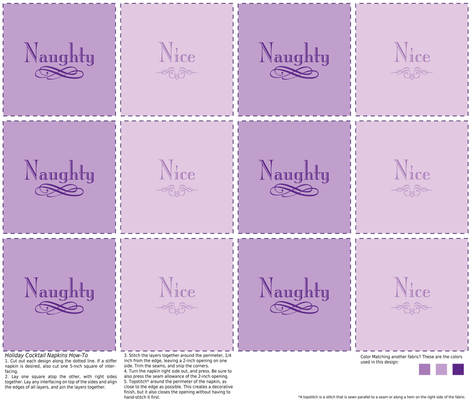 Naughty & Nice Cocktail Napkins (Purple) fabric by studiofibonacci on Spoonflower - custom fabric