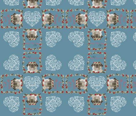 dog pug fabric, romantic