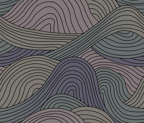 Waves fabric by shiro on Spoonflower - custom fabric