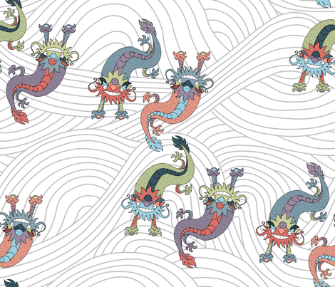 Chinese Dragons on White fabric by shiro on Spoonflower - custom fabric
