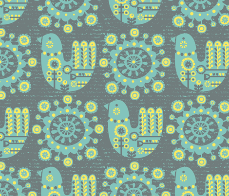Folksy Birdie fabric by amel24 on Spoonflower - custom fabric