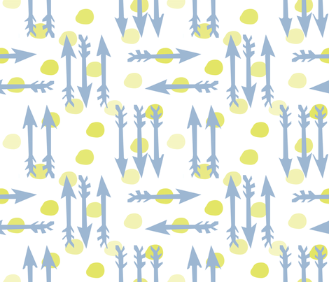Dotty Arrows 452(key lime, deep sky & white) fabric by pattyryboltdesigns on Spoonflower - custom fabric