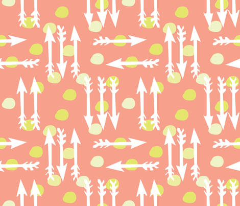 Dotty Arrows 452 (salmon, key lime & white) fabric by pattyryboltdesigns on Spoonflower - custom fabric