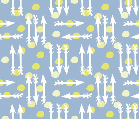 Dotty Arrows 452-flip (deep sky, key lime & white) fabric by pattyryboltdesigns on Spoonflower - custom fabric