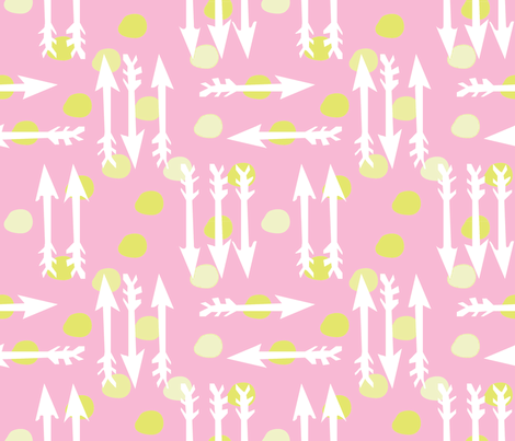 Dotty Arrows 452 (blush, key lime & white) fabric by pattyryboltdesigns on Spoonflower - custom fabric
