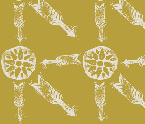 Letterboxing - Arrow & Flowers - Hand-Carved Stamps - Gold/Cream fabric by owlandchickadee on Spoonflower - custom fabric