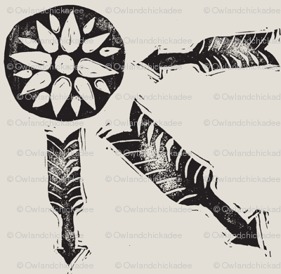 Letterboxing - Arrow & Flowers - Hand-Carved Stamps Black/White