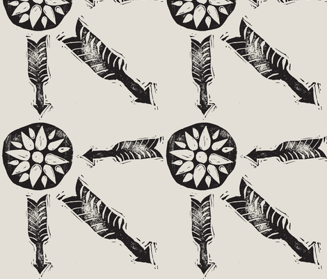 Letterboxing - Arrow & Flowers - Hand-Carved Stamps Black/White fabric by owlandchickadee on Spoonflower - custom fabric