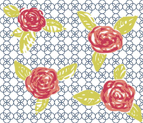 Quatrefoil and Roses fabric by eeniemeenie on Spoonflower - custom fabric