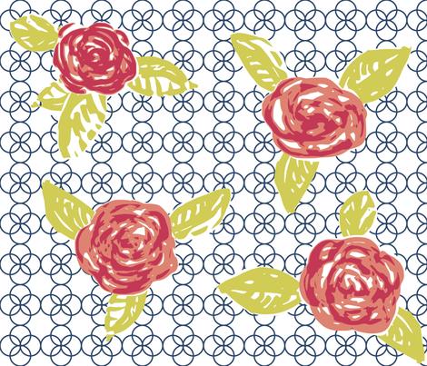 Quatrefoil and Roses fabric by eeniemeenie on Spoonflower - custom fabric