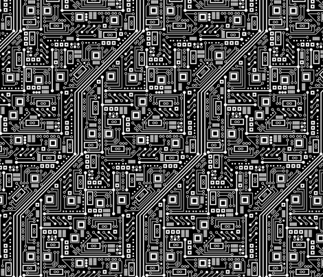 Robot Circuit Board (Black and White) fabric by robyriker on Spoonflower - custom fabric
