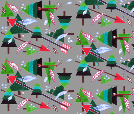 Evergreens & Arrows - grey fabric by painter13 on Spoonflower - custom fabric