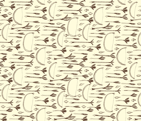 A Boy's Own Arrow Collection - Vintage Cream Background (5) fabric by rhondadesigns on Spoonflower - custom fabric