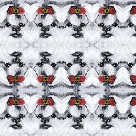 SHIH TZU HOLIDAY BOW- fabric by kaylah-marie on Spoonflower - custom fabric