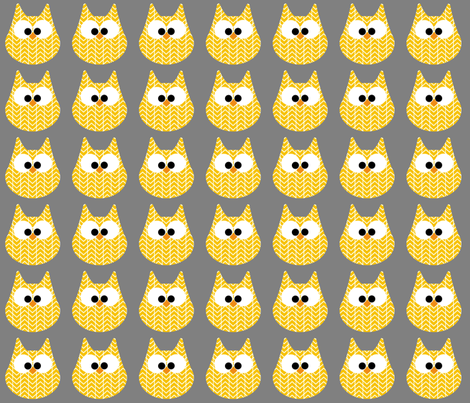HOOTS in yellow on grey fabric by scorpiusblue on Spoonflower - custom fabric