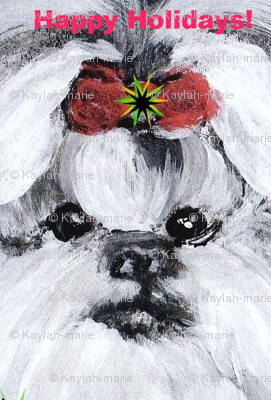 SHIH TZU HOLIDAY BOW--ed