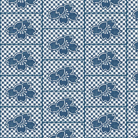 Plum Blossom Quilt - denim blue and white fabric by materialsgirl on Spoonflower - custom fabric
