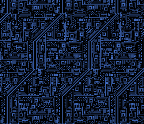Evil Robot Circuit Board (Black and Blue) fabric by robyriker on Spoonflower - custom fabric