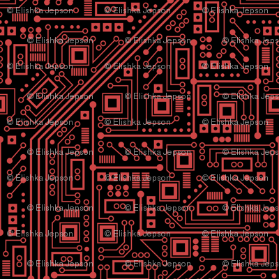 Evil Robot Circuit Board (Black and Red)