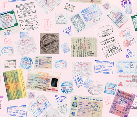 Passport Stamps fabric by koalalady on Spoonflower - custom fabric
