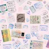 Stamps - Passport -pink