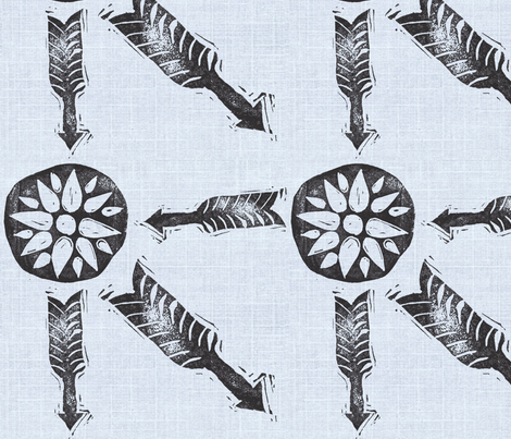 Letterboxing - Arrow & Flowers - Lt. Blue fabric by owlandchickadee on Spoonflower - custom fabric