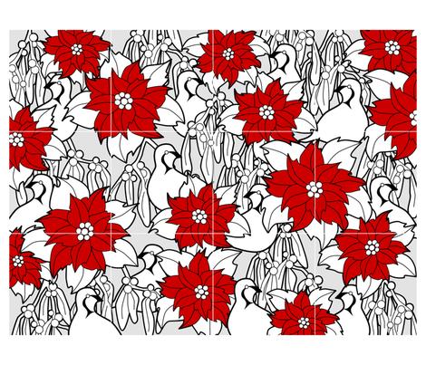 Poinsettia cocktail napkins fabric by elainethebrain on Spoonflower - custom fabric