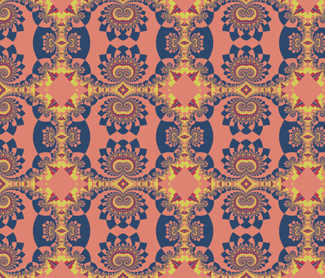 Graceful Fractals in Blue, Red, and Yellow for Matisse fabric by clotilda_warhammer on Spoonflower - custom fabric